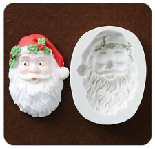 Silicone Fondant Mould Santa Claus Head Cake Chocolate Decorating Baking Mold 3D