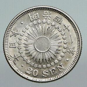 1908 JAPAN Emperor MEIJI Silver Antique Silver Old JAPANESE 20 Sen Coin i91285