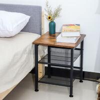 Industrial Wooden Bedside Nightstand End Table Storage Cabinet Bedroom Furniture