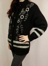 Womens Vintage Heavy Weight Wool Mohair Floral Oversize Cardigan Jacket Medium