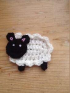Crochet Applique Handmade Motif sheep embellishment 6cm x7cm
