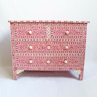 Handmade Dyed  Bone Inlay Pink Floral chest Of Drawers Sideboard