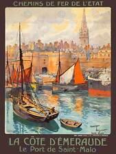 TRAVEL St Malo FRANCIA Emerald Coast Porta Dock CHIESA GUGLIA BARCA posterbb 7638b
