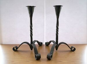 Vintage Candle Holders Set of 2/Hand Hammered Solid Westling 1980 Collectible