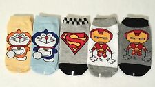 Kids boy socks cartoon character SuperMan Iron Man Robotic cat 5PK 2T-4T(B5)
