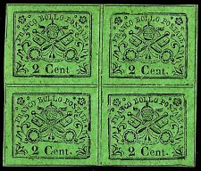 PAPAL ROMAN STATES, 2 CENT., LIGHT GREEN PAPER, YEAR 1867, BLOCK OF 4, MINT