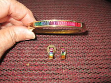 Roman Bangle Bracelet & Earring Set with Colored Rhinestones Goldtone PRETTY!!