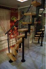 MINI Plus Space Saver Spiral ,Loft Staircase Kit-Black Metal-horizontal baniter*