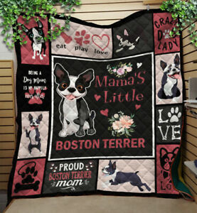Mama's Little Boston Terrier Quilt, Fleece Blanket