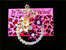 Purple Enamel crystal flower Garland Charm Woman Brooch Pin