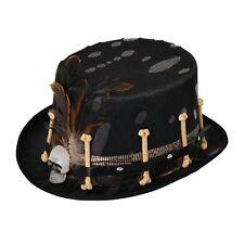 Top Hat Black Voodoo Style Bones Skull Halloween Mens Fancy Dress Accessory