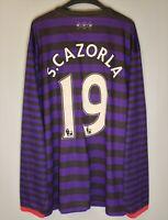 ARSENAL LONDON 2012 2013 AWAY LONG SLEEVE FOOTBALL SHIRT #19 CAZORLA JERSEY
