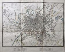 1833 Antique Plan / Map; Manchester, Salford and their Environs. Original Colour