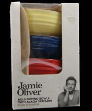 JAMIE OLIVER | Bold Dipping Bowls With Acacia Spreader | BNIB | Bright Beautiful