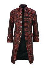 Renaissance Men's Red Brocade Goth Steampunk Victorian Velvet Frock Coat