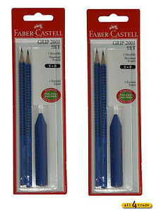 2x Faber-Castell Set Grip 2001! 4 Bleistifte Grip 2001 B + 2 Radierer!NEU + OVP