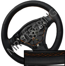 FOR ROVER 75 98-05 BLACK ITALIAN LEATHER STEERING WHEEL COVER ORANGE STITCH