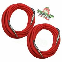 FAT TOAD Speaker Cables ¼ Male Jack 25ft DJ Cords –  PA Audio Stage Studio Wires