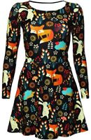 Fox, Rabbit And Hedgehog Animal Nature Print Long Sleeve Skater Flare Dress