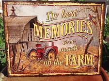 THE BEST MEMORIES MADE ON THE FARM Tractor Tin Metal Sign Wall Garage Classic