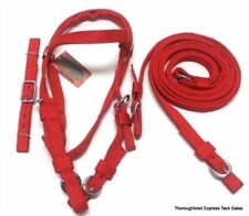 D.A. Brand Red Nylon Poly Horse Size Complete Bridle Set horse tack equine