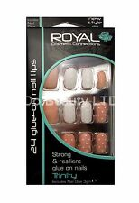 ROYAL 24 FALSE NAIL TIP TRINITY BEIGE PEACH AND WHITE DESIGN ROUND NAILS TIPS