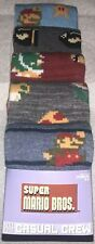 Super Mario Crew Socks 5 Pair Mens 8-12 Bowser Bullet Blue Gray 1UPNintendoGamer