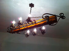 ARTISAN CHANDELIER 6 LIGHTS IN WROUGHT IRON AND HAMMERED WOOD сделали ИТАЛИЮ