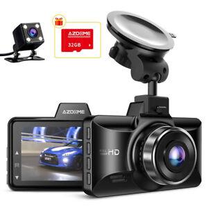 "AZDOME 3""FHD 1080P Dashcam Dual Lens Autokamera Video Recorder DVR Mit 32G Karte"