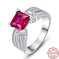 Princess Cut 2.35CT Gemstone Ruby 100% 925 Sterling Silver Ring Sz L½ N½ P½ R½