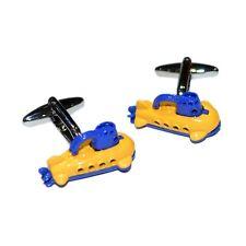 Yellow & Blue Submarine Cufflinks & Gift Pouch Beetles Fan Mens Gift