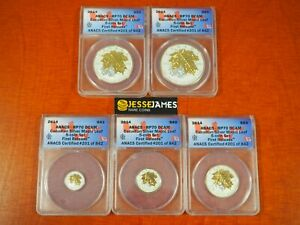 2014 CANADA REVERSE PROOF SILVER MAPLE LEAF W/ GOLD GILT ANACS RP70 5 COIN SET