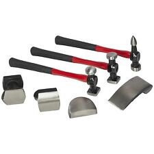 Am-Tech 7pc Car Auto Body Panel Repair Tool Kit Beating Hammers Heel Dolly