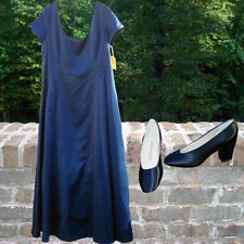 Dresses - Jim Hjelm Occasions Navy Blue 100% Satin and Matching Bridesmaid Shoes