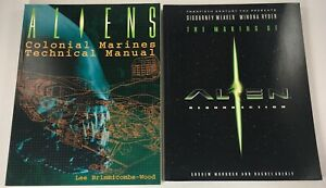 LOT OF 2 ALIENS COLONIAL MARINES TECH MANUAL/ MAKING ALIEN RES BOOKS HARPER 1996