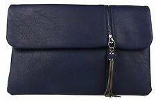 Zipper Flap Clutch Bag Chain Tassel Faux Leather Handbag Evening Party Ladies
