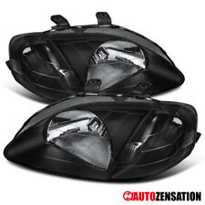 For 1999-2000 Honda Civic 2/3/4DR Pair Black Headlights Lamps Left+Right