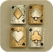 2 Hole Beads Playing Cards Club Spade Diamond Heart ~ Silver Gold Sliders QTY 4