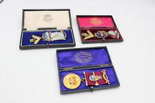 More details for 3 x vintage hallmarked .925 sterling silver enamel gilt masonic jewels (117g)