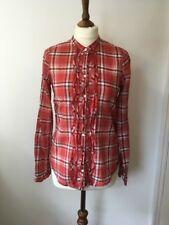 womens abercrombie and fitch Lightweight Check Shirt Ruffle Front Size S 8 10