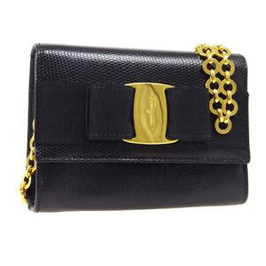Salvatore Ferragamo Vara Bow Chain Shoulder Belt Bag Black Embossed AK38445f