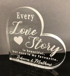 Love Valentines Day Gift - Personalised Free Engraving - Love Heart Glass  Gift