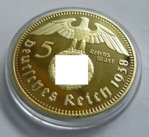 Piece WW2 1938  5 Reichsmark Or Plaqué Guerre Allemagne Germany Coin War Coin