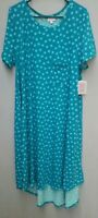 Lularoe Carly Dress 2XL Green & Blue Polka Dot Swing Tee Shirt Hilo Hem NWT USA