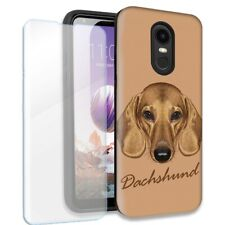 Dachshund Dog Double Layer Case w/Tempered Glass Protector For LG Stylo 4