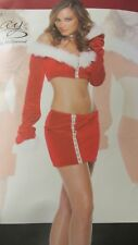 Forplay Sexy North Pole Flirt Christmas Santa Velvet Fur Mini Skirt Crop Top