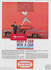 NATIONAL CAR RENTAL 1962 FORD GALAXIE 500 YOU CAN WIN A CAR CONTEST AD