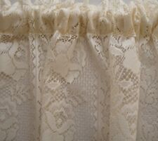 2m w x 2.13m drop Cream Curtain Roses Lace Bedroom Lounge Dining Bedroom Rod Pkt