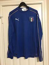 New L Puma Italy Italia Long Sleeve LS Jersey Soccer Home Blue Futbol Kit