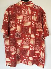 Red 100% Silk Hawaiian Floral Geometric Print Mens XL Short Sleeve Button Shirt